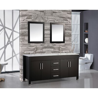 Prahl 71.25 Double Sink Bathroom Vanity Set with Mirror