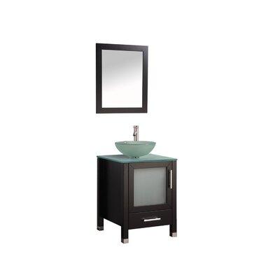 Prado Contemporary 24 Single Sink Bathroom Vanity Set with Mirror