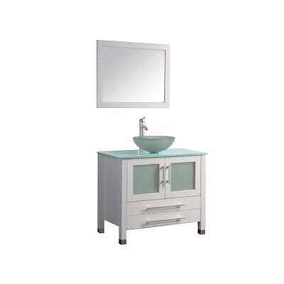 Cuba 36 Single Sink Bathroom Vanity Set with Mirror Base Finish: White