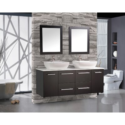 Potvin 63 Floating Double Bathroom Vanity Set with Mirror