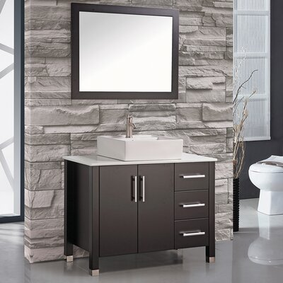 Laroche 40 Single Sink Bathroom Vanity Set with Mirror