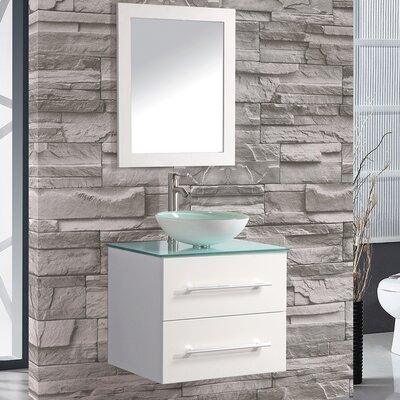 Cuba 24 Single Sink Wall Mounted Bathroom Vanity Set with Mirror