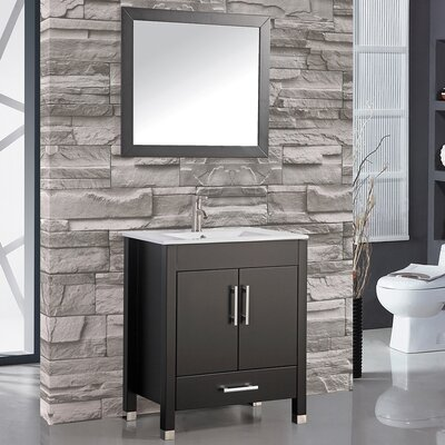 Prahl 24 Single Sink Bathroom Vanity Set with Mirror Base Finish: Black