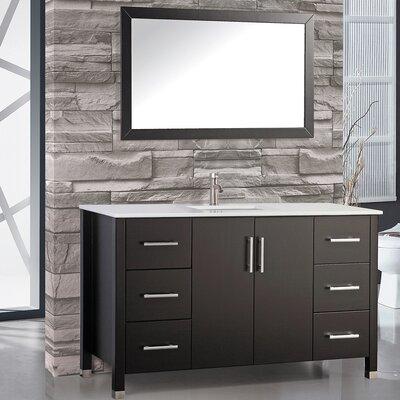 Monaco 48 Single Sink Bathroom Vanity Set with Mirror Base Finish: Espresso