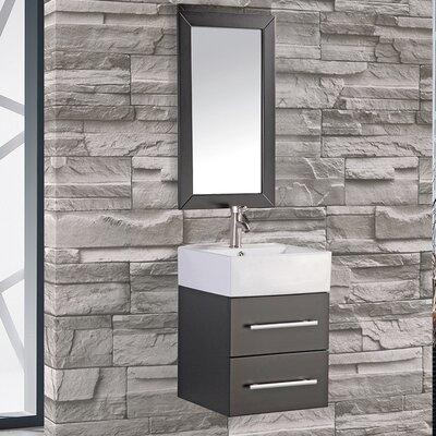 Potvin 18 Single Sink Bathroom Vanity Set with Wood Frame Mirror