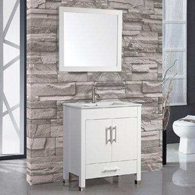 Prahl 24 Single Sink Bathroom Vanity Set with Mirror Base Finish: White