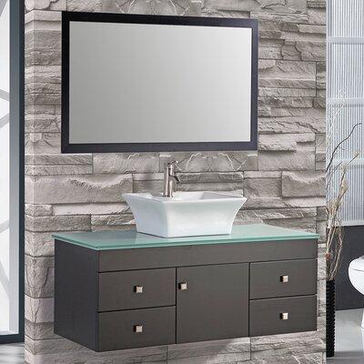 Nepal 48 Single Sink Bathroom Vanity Set with Mirror Base Finish: Espresso