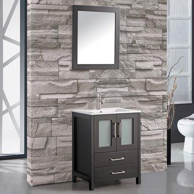 Larosa 24 Single Sink Bathroom Vanity Set with Mirror Base Finish: Espresso