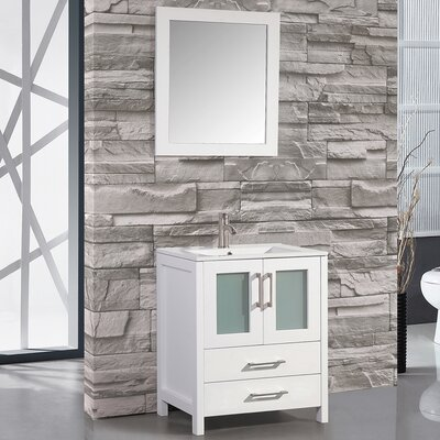 Larosa 24 Single Sink Bathroom Vanity Set with Mirror Base Finish: White