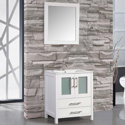 Argentina 24 Single Sink Bathroom Vanity Set with Mirror Base Finish: White