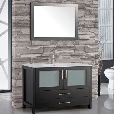 Argentina 36 Single Sink Bathroom Vanity Set with Mirror Base Finish: Espresso