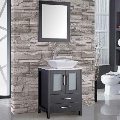 Jordan 24 Single Sink Bathroom Vanity Set with Mirror Base Finish: Espresso