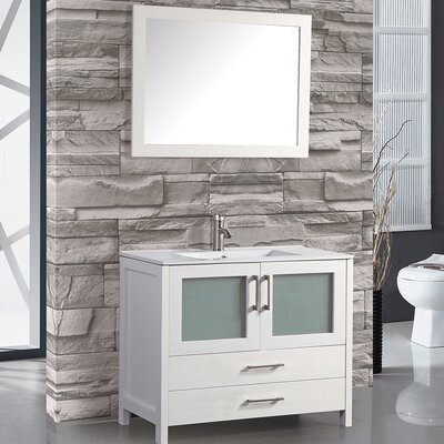 Argentina 36 Single Sink Bathroom Vanity Set with Mirror Base Finish: White