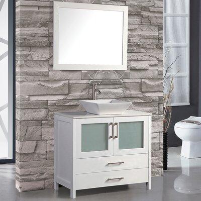 Jordan 36 Bathroom Vanity Set with Mirror Base Finish: White