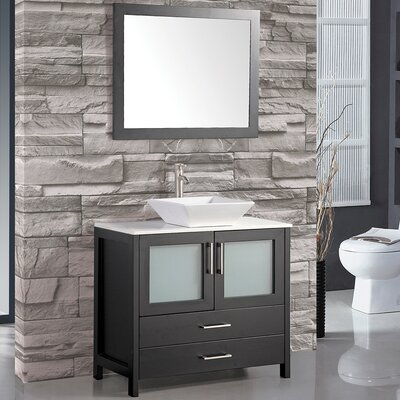 Powley 36 Bathroom Vanity Set with Mirror Base Finish: Espresso