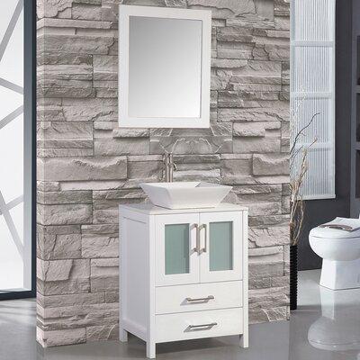 Jordan 24 Single Sink Bathroom Vanity Set with Mirror Base Finish: White