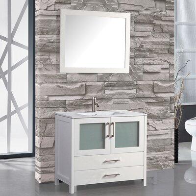Argentina 30 Single Sink Bathroom Vanity Set with Mirror Base Finish: White