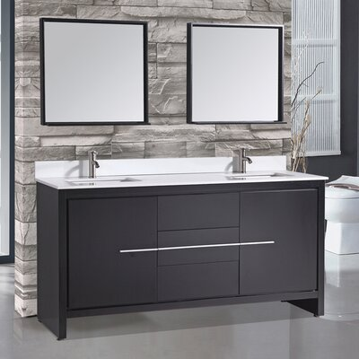Cypress 72 Double Modern Bathroom Vanity Set with Mirrors Base Finish: Espresso