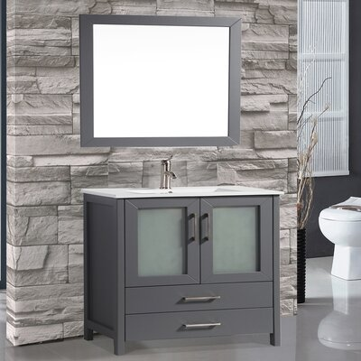 Argentina 36 Single Sink Bathroom Vanity Set with Mirror Base Finish: Gray