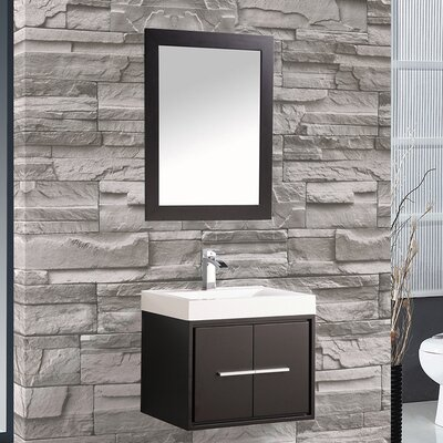 Peirce 24 Single Floating Bathroom Vanity Set with Mirror Base Finish: Espresso