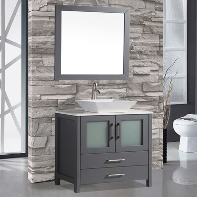 Jordan 48 Single Sink Bathroom Vanity Set with Mirror Base Finish: Gray