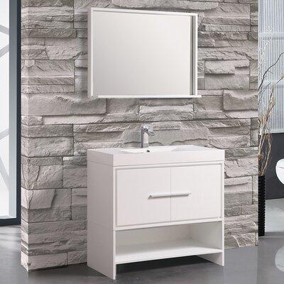 Peirce 36 Single Bathroom Vanity Set with Mirror Base Finish: White
