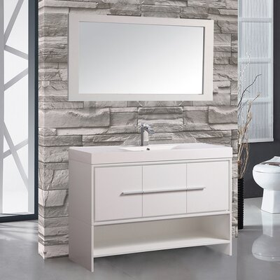 Peirce 48 Single Bathroom Vanity Set with Mirror Base Finish: White