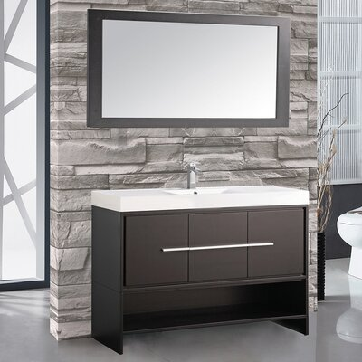 Peirce 48 Single Bathroom Vanity Set with Mirror Base Finish: Espresso