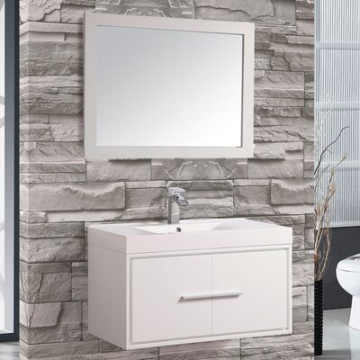 Peirce 36 Single Floating Bathroom Vanity Set with Mirror Base Finish: White