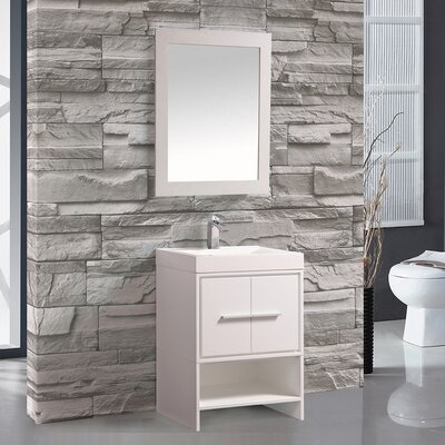 Cypress 24 Single Bathroom Vanity Set with Mirror Base Finish: White