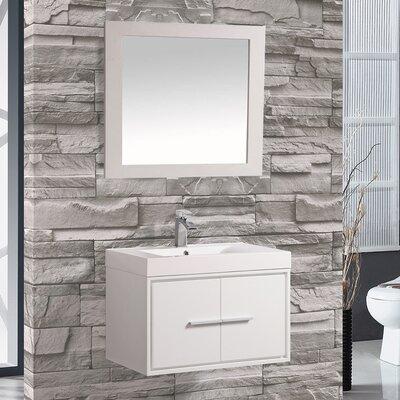 Peirce 30 Single Floating Bathroom Vanity Set with Mirror Base Finish: White