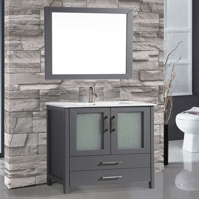 Argentina 48 Single Sink Bathroom Vanity Set with Mirror Base Finish: Gray