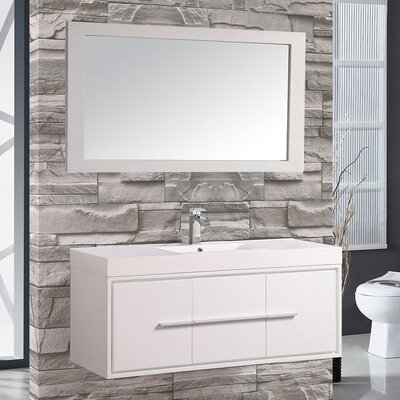 Cypress 48 Single Floating Bathroom Vanity Set with Mirror Base Finish: White