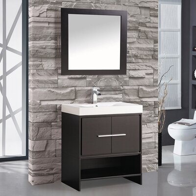 Peirce 30 Single Bathroom Vanity Set with Mirror Base Finish: Espresso
