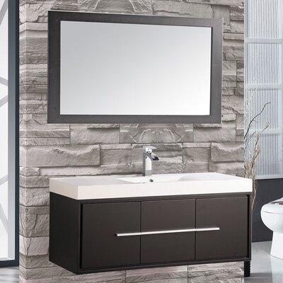 Cypress 48 Single Floating Bathroom Vanity Set with Mirror Base Finish: Espresso