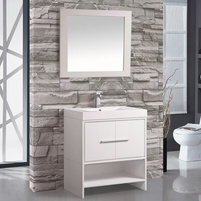 Cypress 30 Single Bathroom Vanity Set with Mirror Base Finish: White