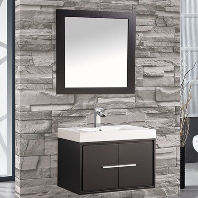 Peirce 30 Single Floating Bathroom Vanity Set with Mirror Base Finish: Espresso
