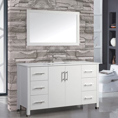Monaco 48 Single Sink Bathroom Vanity Set with Mirror Base Finish: White
