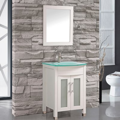 Figi 24 Single Sink Bathroom Vanity Set with Mirror Base Finish: White