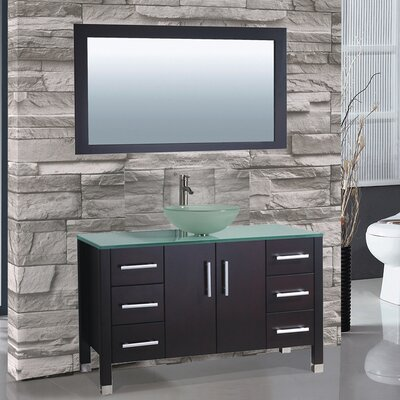 Cuba 48 Single Sink Bathroom Vanity Set with Mirror Base Finish: Espresso