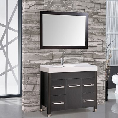 Greece 36 Single Sink Bathroom Vanity Set with Mirror Base Finish: Espresso