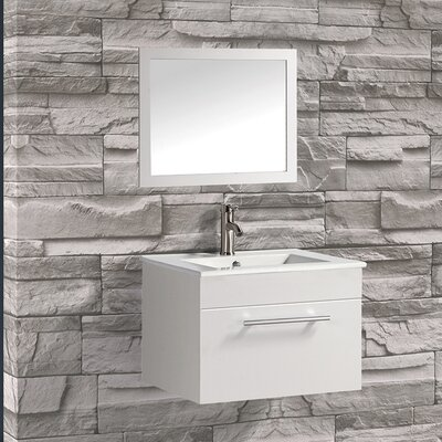 Nepal 24 Single Sink Bathroom Vanity Set with Mirror Base Finish: White