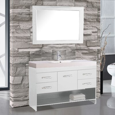 Greece 48 Single Sink Bathroom Vanity Set with Mirror Base Finish: White
