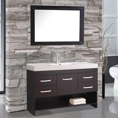 Prager 48 Single Sink Bathroom Vanity Set with Mirror Base Finish: Espresso