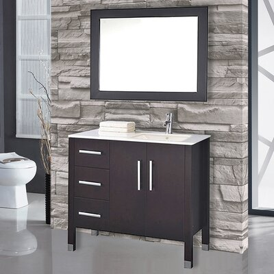 Prahl 40 Single Sink Bathroom Vanity Set with Mirror Base Finish: Espresso