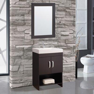 Prager 24 Single Sink Bathroom Vanity Set with Mirror Base Finish: Espresso