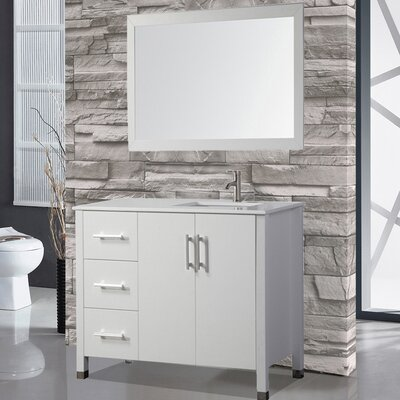 Prahl 40 Single Sink Bathroom Vanity Set with Mirror Base Finish: White