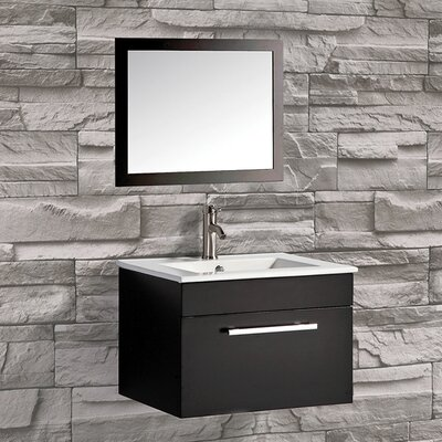 Nepal 24 Single Sink Bathroom Vanity Set with Mirror Base Finish: Espresso