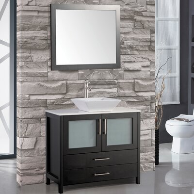 Jordan 48 Single Sink Bathroom Vanity Set with Mirror Base Finish: Espresso