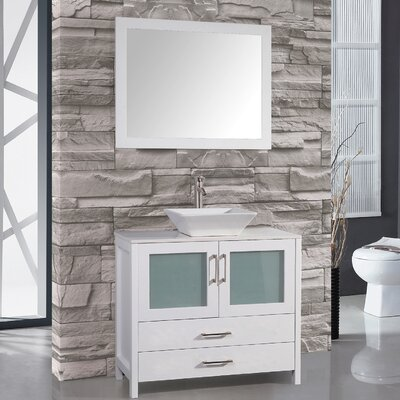 Jordan 48 Single Sink Bathroom Vanity Set with Mirror Base Finish: White